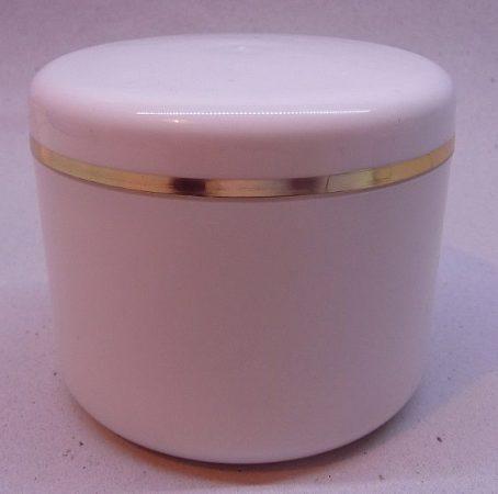 Kozmetikai tégely PP fehér arany dísszel 200ml