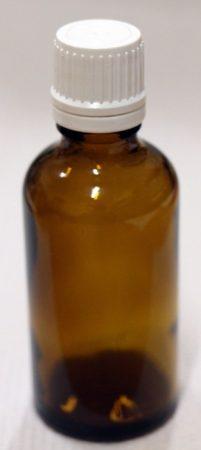 Patikai barna üveg 50ml-es cseppentős kupakkal (fehér)