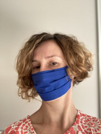 Egyszínű kék textil maszk