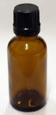 Patikai barna üveg 30ml-es cseppentős kupakkal (FEKETE) (1tálca 104db)