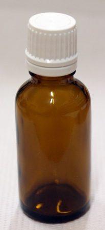 Patikai barna üveg 30ml-es cseppentős kupakkal (fehér)
