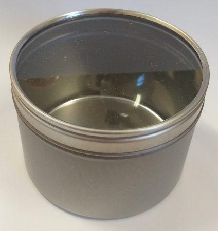 Fém tégely átlátszó tetővel 250ml (ezüst)
